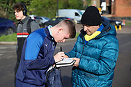 AFC Wimbledon midfielder Max Sanders (23) signing autographs during the EFL Sky Bet League 1 match between AFC Wimbledon and Fleetwood Town at the Cherry Red Records Stadium, Kingston, England on 8 February 2020.