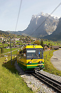 Cog & Ratchet Railway train climbing through alpine pastures - Grinderwald - Alps - Switzerland .<br /> <br /> Visit our SWITZERLAND  & ALPS PHOTO COLLECTIONS for more  photos  to browse of  download or buy as prints https://funkystock.photoshelter.com/gallery-collection/Pictures-Images-of-Switzerland-Photos-of-Swiss-Alps-Landmark-Sites/C0000DPgRJMSrQ3U