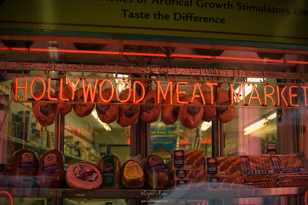 The front window of Hollywood Meat Market in Philly's Italian Market as seen early on a winter's morning.