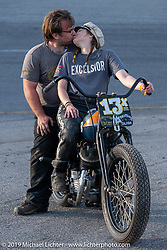Matt Olsen with his wife and racer Brittney Olsen on their 1946 Harley-Davidson WR 45 ci racer that Matt Built (Carl's cycle supply) after the Sons of Speed Vintage Motorcycle Races at New Smyrina Speedway. New Smyrna Beach, USA. Saturday, March 9, 2019. Photography ©2019 Michael Lichter.