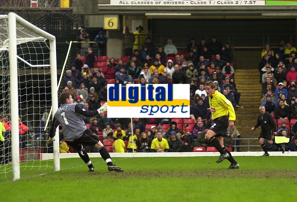 Photo. © Peter Spurrier/Sportsbeat Images<br /> 28/02/2004  -  Nationwide Div 1 Watford v Wimbledon<br /> Watford's Neal Ardley slots in Watford's fourth goal as the ball goes over, SteveBanks,  Wimbledon keeper head.