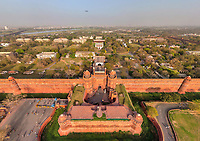 Aerial view of Delhi fort, India