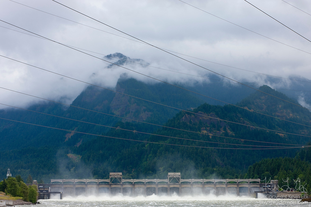 The Bonneville Dam spans the Columbia River about 40 miles east of Vancouver, Washington and Portland, Oregon. The dam is used for navigation and power generation. Its locks allow ships to travel up river; its power faciliites now produce over 1 million kilowatts.