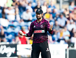 Peter Trego of Somerset looks bemused after catching Billy Root of Glamorgan<br /> <br /> Photographer Simon King/Replay Images<br /> <br /> Vitality Blast T20 - Round 1 - Glamorgan v Somerset - Thursday 18th July 2019 - Sophia Gardens - Cardiff<br /> <br /> World Copyright © Replay Images . All rights reserved. info@replayimages.co.uk - http://replayimages.co.uk