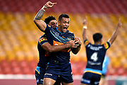 Phillip Sami celebrates a try.<br /> 2020 NRL Round 04 - Gold Coast Titans v Wests Tigers, Suncorp Stadium, 2020-06-07. Digital image by Scott Davis � NRL Photos