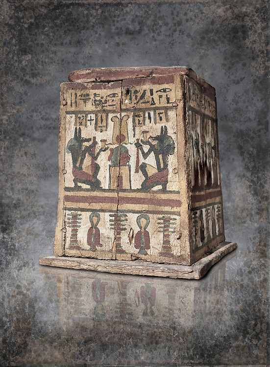 Ancient Egyptian pylon (gateway) shaped Canopic chest for internal organs, wood, Late  to Ptolemaic Period(722-40 BC), Egyptian Museum, Turin. Old Fund Cat 2427. White background,<br /> <br /> Canopic chests are cases used by Ancient Egyptians to contain the internal organs removed during the process of mummification. .<br /> <br /> Visit our HISTORIC WALL ART PRINT COLLECTIONS for more photo prints https://funkystock.photoshelter.com/gallery-collection/Historic-Antiquities-Photo-Wall-Art-Prints-by-Photographer-Paul-E-Williams/C00002uapXzaCx7Y<br /> <br /> Visit our Museum ART & ANTIQUITIES COLLECTIONS to browse more photo at: https://funkystock.photoshelter.com/p/museum-antiquities