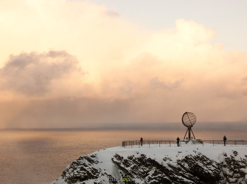 The Globe monument at North Cape (Nordkapp), often described as the most northerly point in Europe, in northern Norway