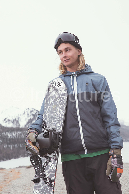 British Freestyle Snowboarder Henry Shackleton on 07th May 2017 in Silvaplana, Switzerland. Silvaplana is a municipality in the Maloja Region in the Swiss canton of Graubünden and the name of a lake in the municipality. Its popular alpine sports destination.