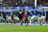 Diego Costa of Chelsea looks to shoot at goal  but sees his effort blocked. Premier league match, Everton v Chelsea at Goodison Park in Liverpool, Merseyside on Sunday 30th April 2017.<br /> pic by Chris Stading, Andrew Orchard sports photography.