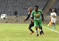 Luvuyo Memela of Orlando Pirates battle for the ball with Tshepo Rikhotso of Bloemfontein Celtic during the ABSA premiership league at Orlando stadium, Soweto.<br />Picture: Itumeleng English/ African News Agency /ANA<br />04.04.2018<br />348<br />Picture: Itumeleng English/ African News Agency /ANA