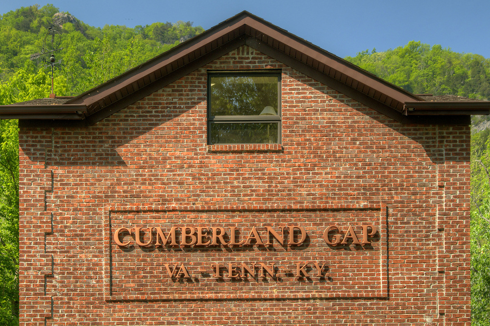 A building with the town's name and tri-state location in Cumberland Gap, TN on Saturday, May 9, 2015. Copyright 2015 Jason Barnette