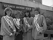 Roses of Tralee at Guinness Brewery..1986.20.08.1986..08.20.1986..20th August 1986..As part of the 50th running of the Rose Of Tralee Festival the thirty Rose contestants were invited to The Guinness Brewery,St James's Gate,Dublin. At the reception in their honour, Mr Pat Healy,Sales Director,Guinness Group Sales,welcomed the roses at the Guinness Reception Centre..Extra: Ms Noreen Cassidy,representing Leeds,went on to win the title of 'Rose Of Tralee'...England was well represented at this years' festival with Roses from  S.E.England,Midlands,Leeds And Manchester taking part.