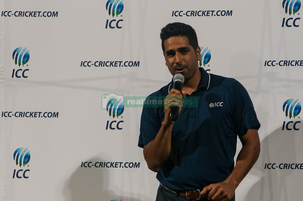 September 22, 2018 - Morrisville, North Carolina, US - Sept. 22, 2018 - Morrisville N.C., USA - ZUBIN SURKARI, with the ICC-America's Development Office, addresses players and fans after the ICC World T20 America's ''A'' Qualifier cricket match between USA and Canada. Both teams played to a 140/8 tie with Canada winning the Super Over for the overall win. In addition to USA and Canada, the ICC World T20 America's ''A'' Qualifier also features Belize and Panama in the six-day tournament that ends Sept. 26. (Credit Image: © Timothy L. Hale/ZUMA Wire)