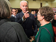 "04 DECEMBER 2019 - AMES, IOWA: Former Vice President JOE BIDEN talks to individual Iowans on the rope line after his campaign event in Ames Wednesday. Vice President Biden is touring Iowa this week on his ""No Malarkey"" bus tour. He spoke at Iowa State University Wednesday. Iowa hosts the first presidential selection event of the 2020 election cycle. The Iowa caucuses are on February 3, 2020.        PHOTO BY JACK KURTZ"