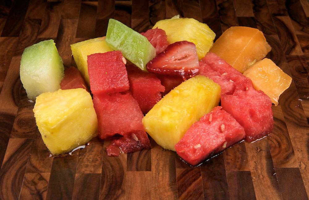 Mix of tropical fruits, fruit salad.