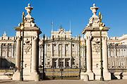 Gates to Plaza de la Armeria, Armory Square, Palacio Real royal palace, Madrid, Spain