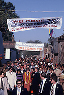 The president and first lady walk down a street in Haryana, India, as President  Carter visits India on January 1, 1978<br /> Photo by Dennis Brack