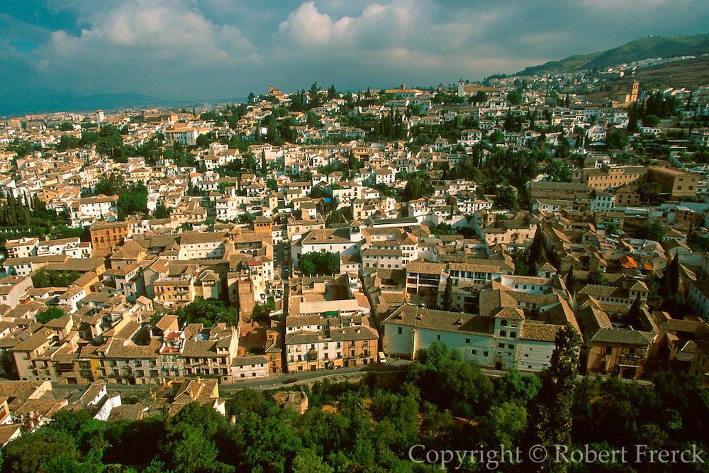 SPAIN, ANDALUSIA, GRANADA The Albaicin or ancient Moorish quarter of Granada, seen from the Alhambra Palace