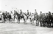 1933 Oujda Morocco - French officers on horse with Moroccan soldiers during a dissolution ceremony