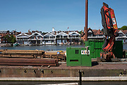 Henley on Thames. United Kingdom.   Piling Equipment moored with the box frames on deck.<br /> Thursday  17/05/2018<br /> <br /> [Mandatory Credit: Peter SPURRIER:Intersport Images]<br /> <br /> LEICA CAMERA AG  LEICA Q (Typ 116)  f5  1/1000sec  35mm  42.5MB