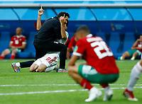 Karim Ansarifard (Iran) celebration end of the match disappointment Aziz Bouhaddouz (Morocco)<br /> Saint Petersburg 15-06-2018 Football FIFA World Cup Russia  2018 <br /> Morocco - Iran / Marocco - Iran <br /> Foto Matteo Ciambelli/Insidefoto