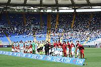 Squadre in campo con curva nord semivuota. Team lineups with empty stands <br /> Roma 03-04-2016 Stadio Olimpico Football Calcio Serie A 2015/2016 Lazio - AS Roma Foto Andrea Staccioli / Insidefoto