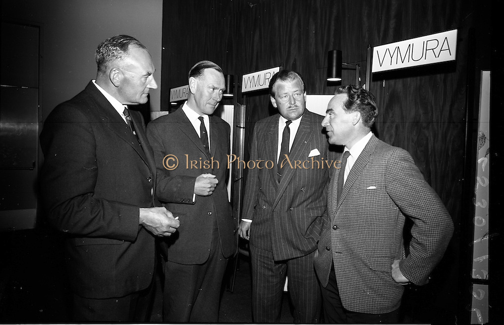 """23/06/1965<br /> 06/23/1965<br /> 23 June 1965<br /> I.C.I. (Imperial Chemical Industries) """"Vymura""""  luxury wall covering (wallpaper?) demonstration at the Intercontinental Hotel, Dublin. At the event were (l-r): Mr. J.S. Watkins, Managing Director I.C.I. (Ireland Ltd.; Mr. Richard French, Director Sisks; Mr. T.P. Casey, Commercial Director I.C.I. (Ireland) Ltd. and Mr. J.J. Connell, architect."""