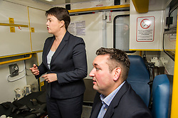 Pictured: Ruth Davidson and Mike Briggs.<br /> <br /> Scottish Conservative leader Ruth Davidson, MSP,  joined shadow health secretary Miles Briggs to launch the party's Health Advisory Board at the Scottish ASmbulance Service Southeast Divisional HQ.  Ms Davidson and Mr Briggs were shown the equipment in the average ambulance by Richard Paton, Ambulance Service manager and Callum Johnston, Specialist medic.<br /> <br /> Ger Harley | EEm 6 September 2017