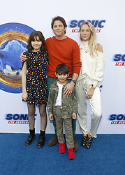 Edei and James Marsden at the Los Angeles premiere of 'Sonic the Hedgehog' held at Paramount Theatre in Los Angeles, USA on January 25, 2020.