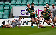 Northampton Saints centre Fraser Dingwall is tackled by Sale Sharks prop Ross Harrison during a Gallagher Premiership Round 13 Rugby Union match, Saturday, Mar. 13, 2021, in Northampton, United Kingdom. (Steve Flynn/Image of Sport)
