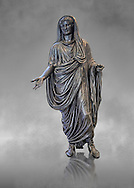 Roman bronze staue of Augustus Ceasar as Pontifex Maximus, late first century B.C, Naples National Archaeological Museum, grey art background ..<br /> <br /> If you prefer to buy from our ALAMY STOCK LIBRARY page at https://www.alamy.com/portfolio/paul-williams-funkystock/greco-roman-sculptures.html . Type -    Naples    - into LOWER SEARCH WITHIN GALLERY box - Refine search by adding a subject, place, background colour, etc.<br /> <br /> Visit our ROMAN WORLD PHOTO COLLECTIONS for more photos to download or buy as wall art prints https://funkystock.photoshelter.com/gallery-collection/The-Romans-Art-Artefacts-Antiquities-Historic-Sites-Pictures-Images/C0000r2uLJJo9_s0