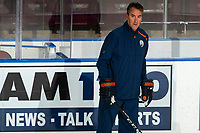 KELOWNA, BC - SEPTEMBER 22:   Edmonton Oilers' Associate Coach, Jim Playfair stands on the ice during practice at Prospera Place on September 22, 2019 in Kelowna, Canada. (Photo by Marissa Baecker/Shoot the Breeze)