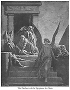 The Firstborn of the Egyptians are Slain Exodus 12:29-30 From the book 'Bible Gallery' Illustrated by Gustave Dore with Memoir of Doré and Descriptive Letter-press by Talbot W. Chambers D.D. Published by Cassell & Company Limited in London and simultaneously by Mame in Tours, France in 1866