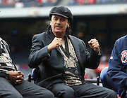ATLANTA, GA:  Singer and guitarist Carlos Santana reacts after giving a speech during the pre-game ceremony before the MLB Civil Rights Game between the Philadelphia Phillies and the Atlanta Braves on Sunday, May 15, 2011 at Turner Field in Atlanta, Georgia.  (Photo by Mike Zarrilli/MLB Photos via Getty Images)