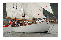 Moonbeam IV, a 105' Gaff Cutter designed primarily to race in 1914.  Here off Fairlie Church at the start of the Round Cumbraes race...This the largest gathering of classic yachts designed by William Fife returned to their birth place on the Clyde to participate in the 2nd Fife Regatta. 22 Yachts from around the world participated in the event which honoured the skills of Yacht Designer Wm Fife, and his yard in Fairlie, Scotland...FAO Picture Desk..Marc Turner / PFM Pictures
