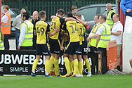Scunthorpe United Midfielder, Matthew Lund (7) scores to make it 0-1 goal celebration during the EFL Sky Bet League 1 match between Accrington Stanley and Scunthorpe United at the Fraser Eagle Stadium, Accrington, England on 1 September 2018.