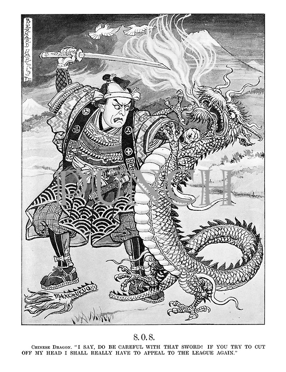 """S.O.S. Chinese Dragon. """"I say, do be careful with that sword! If you try to cut off my head I shall really have to appeal to the League again."""" (Japan swings his sword after having already cut off the dragon's Manchukuo tail)"""