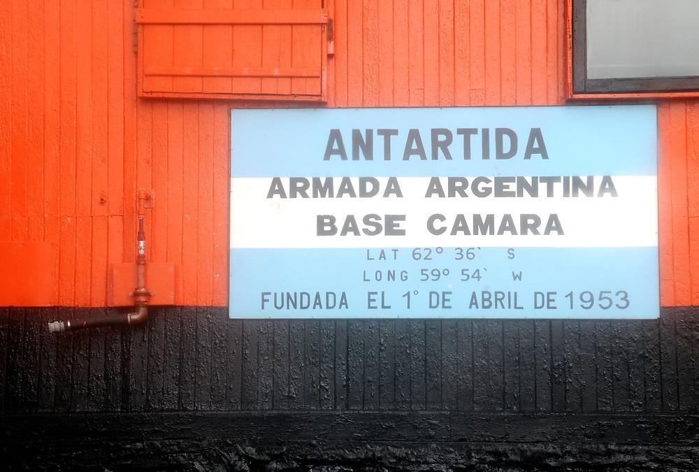 Sign on the Argentinian Camara Base on Half Moon Island.   Half Moon Island,  South Shetland Islands, Antarctica.   03Mar16