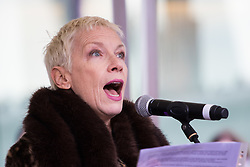 """City Hall, London, March 5th 2017. Stars join March4Women through London. Mayor of London Sadiq Khan and suffragette descendents prepare to march and """"sing for a fairer world ahead of International Women's Day"""". Attended by Annie Lennox, Emeli Sande, Helen Pankhurst, Bianca Jagger and with musical performances from Emeli Sande, Melanie C and more. PICTURED: Annie Lennox addresses the crowd at a rally before the march"""