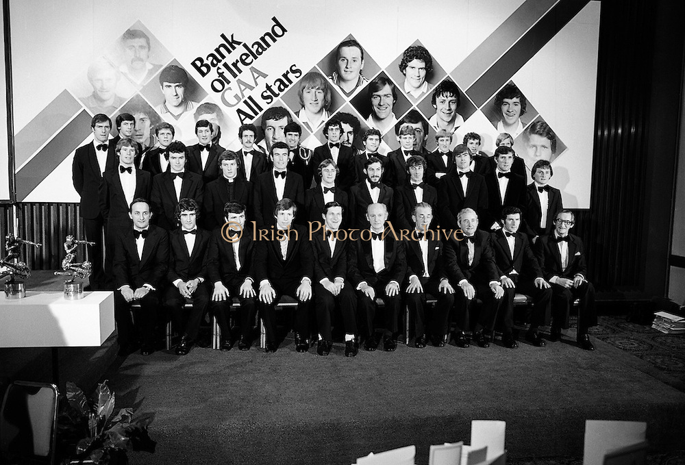 The 1979 Bank of Ireland GAA Allstars received their trophies from An Taoiseach, Jack Lynch. Front row (l-r): John Neiland, Director, Bank of Ireland; Pat McLoughney, Tipperary; Brian Murphy, Cork; Martin O'Doherty, Cork; Liam Mulvihill, Director General, GAA; Taoiseach Jack Lynch; Frank O'Rourke, Director, Bank of Ireland; Paddy McFlynn, President GAA; Tadhg O'Connor, Tipperary; Mick Dunne, Hon Sec. Selection Committee. Middle Row: Dermot McCurtain, Cork; Ger Henderson, Tipperary; Iggy Clarke, Galway; John Connolly, Galway; Joe Hennessey, Kilkenny; John Callinan, Clare; Liam O'Brien, Kilkenny; Joe McKenna, Limerick; Paddy Cullen, Dublin; Eugene Hughes, Monaghan. Back Row: John O'Keeffe, Kerry; Tom Heneghan, Roscommon; Tommy Drumm, Dublin; Tim Kennelly, Kerry; Danny Murray, Roscommon; Dermot Earley, Roscommon; Bernard Brogan, Dublin; Ger Power, Kerry; Sean Walsh, Kerry; Pat Spillane, Kerry; Michael Sheehy, Kerry and Joe McGrath, Mayo.<br /> 07/12/1979
