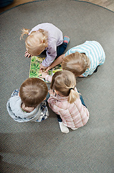 Four kids looking at on ground of her kindergarten, elevated view