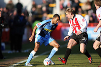 Kevin Betsy left for Wycombe, Mickey Bell right for Cheltenham<br /> <br /> Photo: Richard Eaton.<br /> <br /> Cheltenham Town v Wycombe Wanderers. Coca Cola League 2. 04/03/2006.