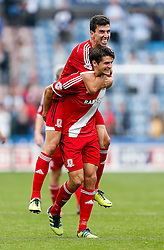 Daniel Ayala and George Friend celebrate after Middlesbrough win 1-2 - Photo mandatory by-line: Rogan Thomson/JMP - 07966 386802 - 13/09/2014 - SPORT - FOOTBALL - Huddersfield, England - The John Smith's Stadium - Huddersfield town v Middlesbrough - Sky Bet Championship.