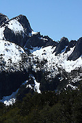 San Sebastian peaks, still covered in snow in late October, in Chile's Huerquehue National Park, near Pucon