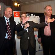 Uitreiking Omroepman van het jaar, Arthur Valkieser, Frits Barend en Henk van Dorp