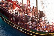 Cruise pirate theme ship sailing on blue waters.  Caribbean Sea