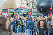 Parliament Square is blocked to traffic. Led by Matt Wrack, The Fire Brigades Union holds a protest rally and march.  Stating at Methodist Central Hall and then heading for Parliament. They are demanding a farer pension settlement and a rethink of the increased retirement age. They accuse Penny Mordaunt, the minister responsible, of lieing to them about the changes and their impact. Westminster London, UK 25 Feb 2015.