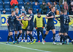 Falkirk's Peter Grant celebrates after scoring their first goal. Falkirk 6 v 1 Dundee United, Scottish Championship game played 6/1/2018 played at The Falkirk Stadium.