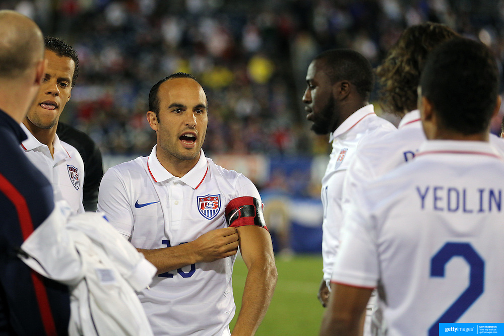 Captain for the night Landon Donovan, USA, during the pre match team group in farewell match during the USA Vs Ecuador International match at Rentschler Field, Hartford, Connecticut. USA. 10th October 2014. Photo Tim Clayton