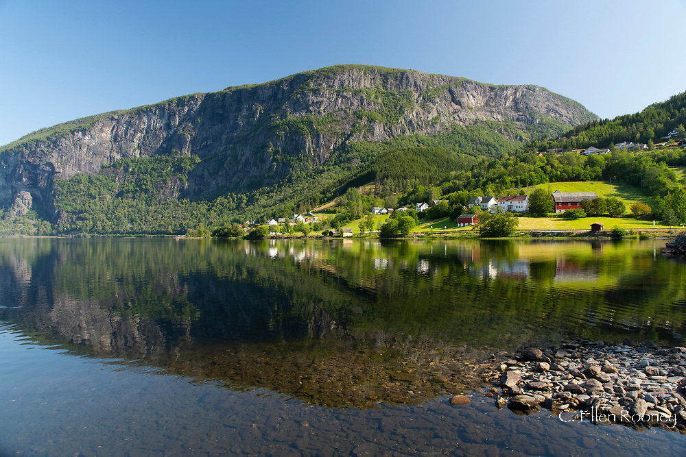 Reflections in still water at Lake Granvinvatnet, Voss, Vestlandet, Norway, Europe
